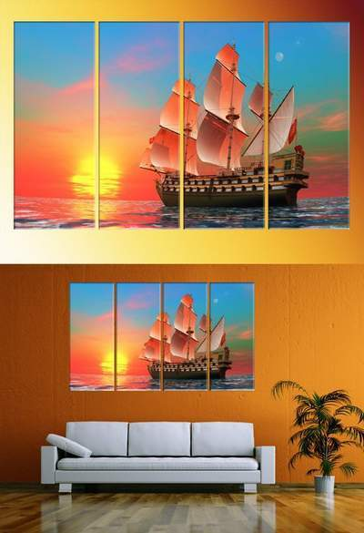 Polyptych, triptychs in psd format - Sailboat at sunrise, sunset at sea, sunrise
