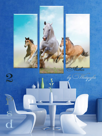 Polyptych,  triptych in psd format - Beautiful horses