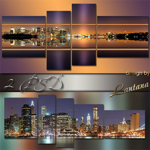 Polyptych in PSD - Panorama of night city