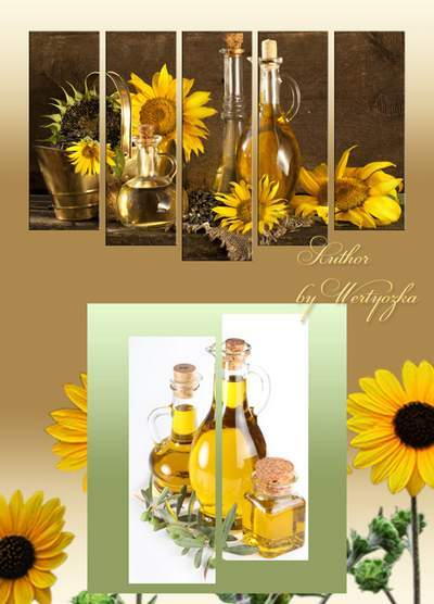 Polyptych, diptychs in psd format - original still life, still life sunflowers, sunflower oil