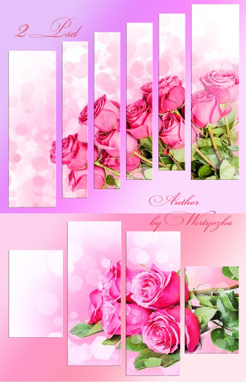Pink roses, bouquet of roses - polyptych in psd format