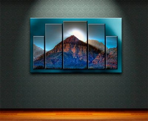 Polyptych painting - mountains