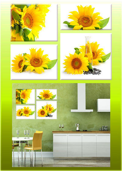 Polyptych in psd format - Sunflowers, flowers sunflower