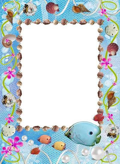 Marine frame for children with fish and shells