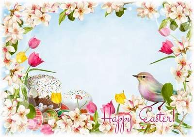 Photoshop frame Happy Easter - multilayer PSD file, English, Russian languages