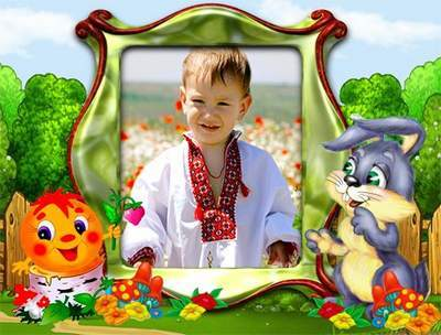 Photoshop frame for baby photo with characters from a fairy tale - layered PSD file