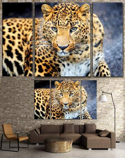 Leopard - Modular painting triptych in psd format