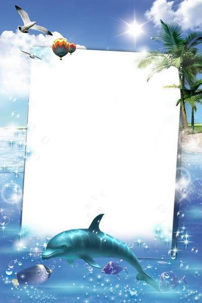 Sea Frame for photo - Dolphin, noble and beautiful
