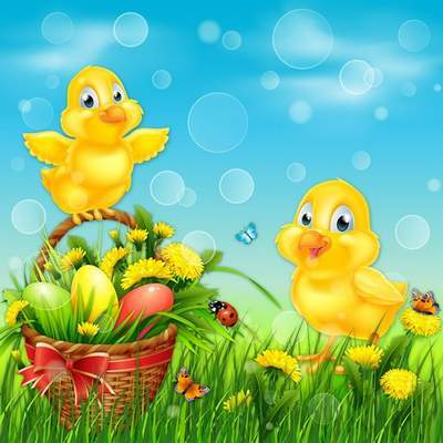 Easter layered PSD source - yellow chickens, butterflies, basket of flowers and Easter eggs