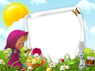 Children frame - Masha and the Easter holiday
