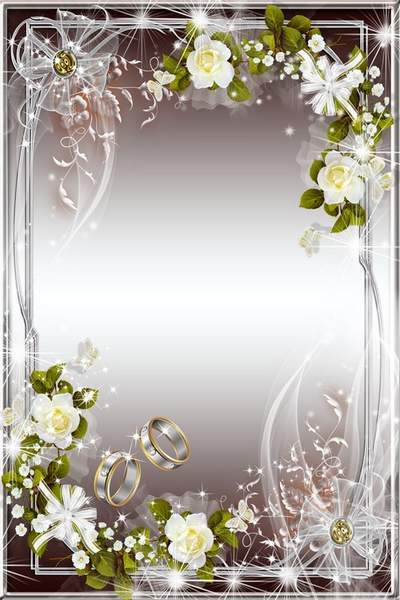 Wedding Frame - White Roses and Rings
