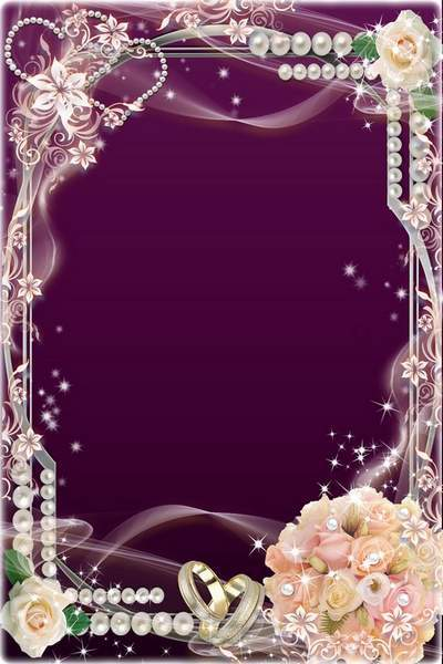 Wedding Frame - Roses, Pearls and Gentle Veil