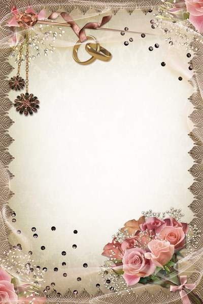 Wedding frame in retrostyle - Bouquet and Rings-Attributes Celebration