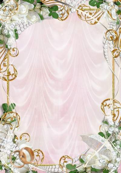 Wedding frame with white roses, pearls and rings - Be always with me