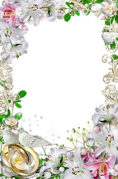 A white wedding frame for photo holiday decoration - Magic Lily