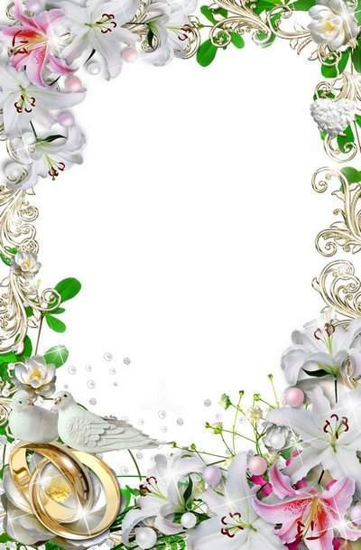 a white wedding frame for photo holiday decoration magic lily