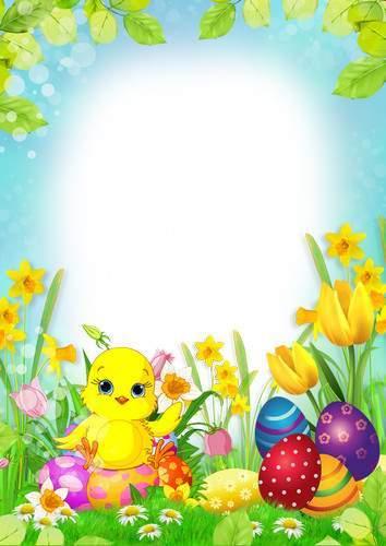 Set of spring photo frameworks - Happy Easter