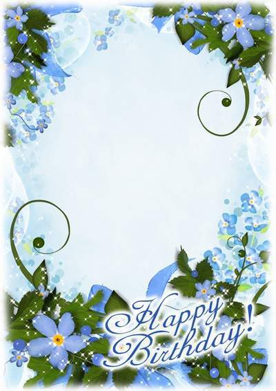 Photo frame with flowers forget-me-not - Happy birthday congratulations, will never forget