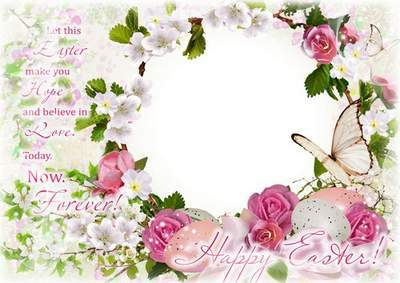 Easter photo framework with spring flowers - Let this Easter make you hope