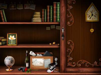 Sources shelves - the shelves frames for photos, books and globe
