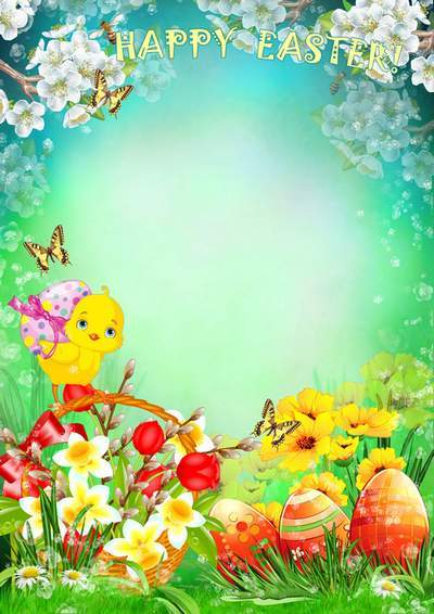 Greeting Photoframe For Photoshop With Bright Spring Flowers Happy