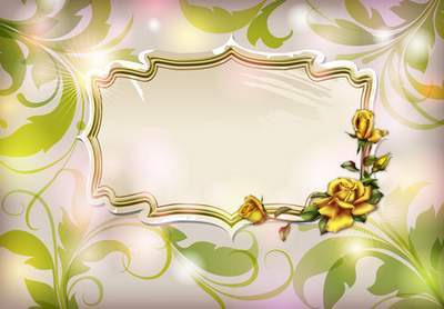 PSD source with the framework - Yellow roses and iris