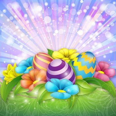 Free PSD source - Multi-colored Easter flowers