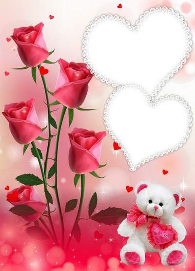 Psd source Valentine's Day + frame for photo - Valentine's Day, beautiful roses, day of in love