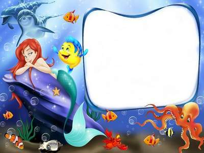Photoshop frame PSD with cartoon character a mermaid for kids photo