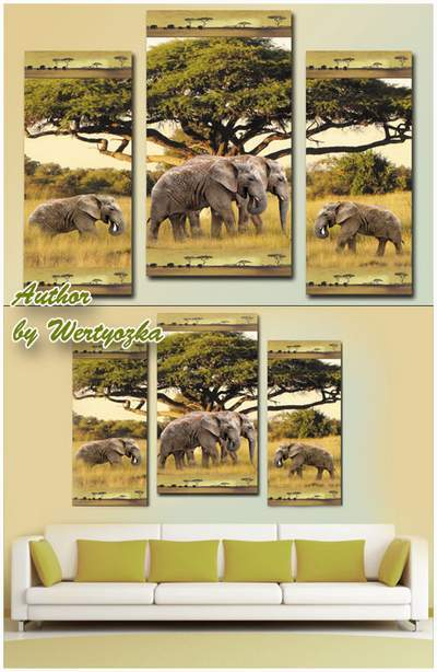 Modular painting - African landscape and elephants