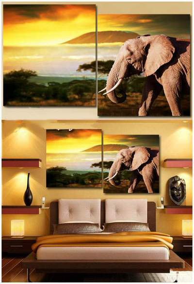Modular painting diptych - Elephant, wonderful sunset
