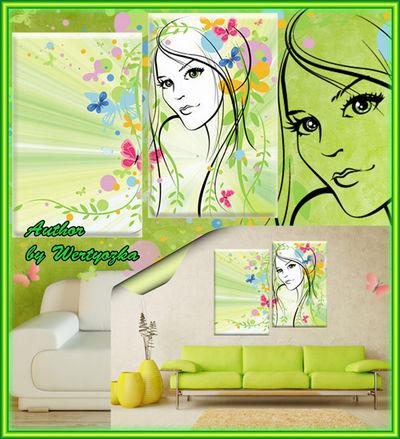 Diptych in psd format, modular pattern - Girl Spring