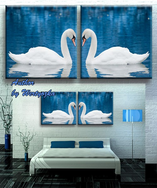 Psd source diptych, modular pattern - White Swans