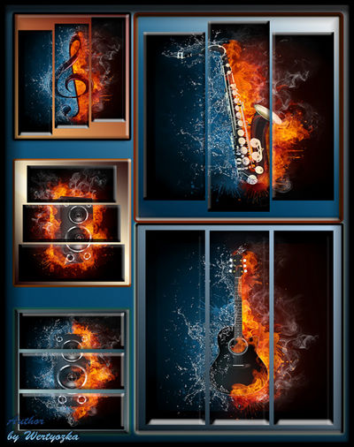 Triptychs in psd format - Musical instruments, music, saxophone, guitar