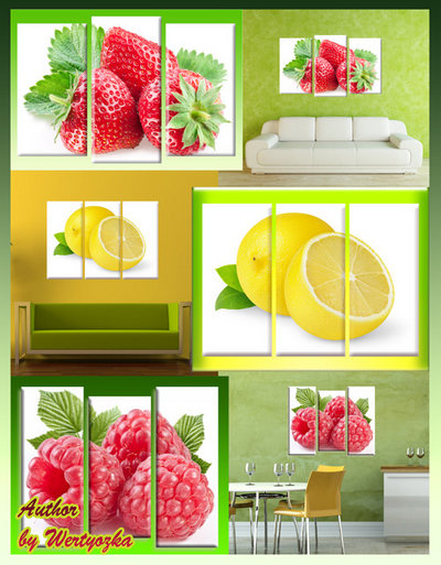 Triptych in psd format - strawberry, raspberry, lemon