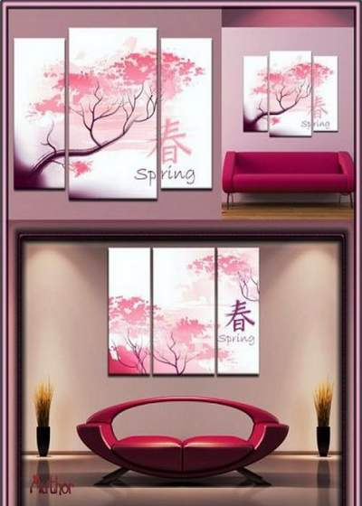 Triptych in psd format - Sakura, Japanese cherry, symbol of Japan