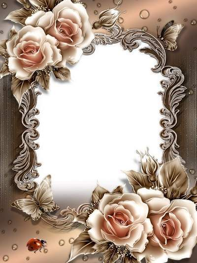 Beautiful Romantic photo frame template - PSD file with roses and butterflies