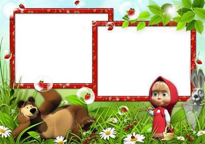 Children frame - And now with Masha and the Bear, we'll go for the strawberry