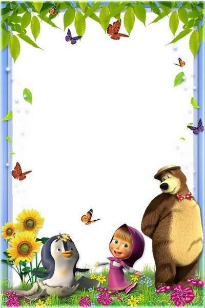 Kid's Photoframe - Penguin, Masha and bear