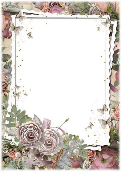 Flower frame for photo - Vintage roses