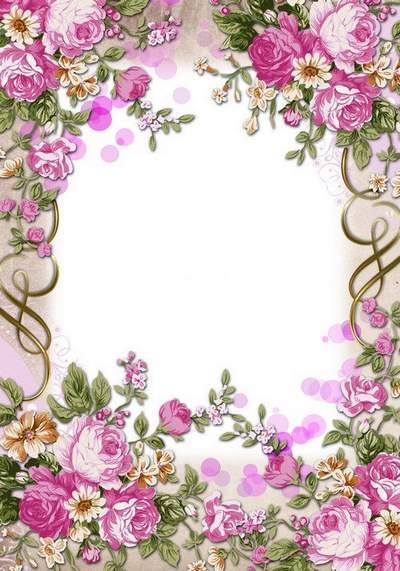 Women flower PSD frame for Photoshop - Vintage roses