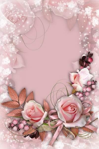 Floral frame - vintage Pink roses