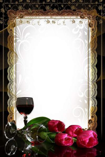 Glamour Woman's Frame - Tulips and Red Wine