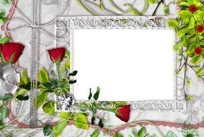 Photoshop Frame PSD template with roses
