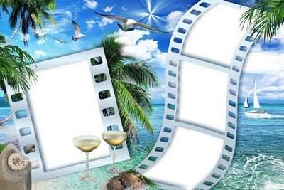 Summer frames - Sea, yachts like gulls, white ship