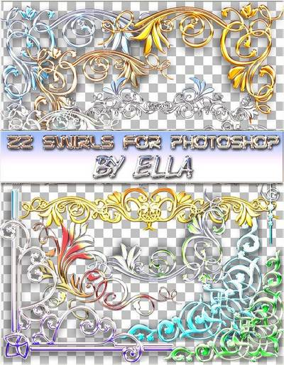 PSD clipart -22 swirls to work in Photoshop by ELLA