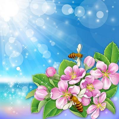 Blue layered PSD Background - the glare of the sun, flowers ,bees, spring, 7677x7677 px