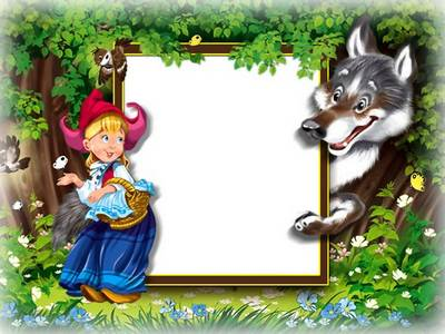 Children Photoshop frame psd file little Red riding hood