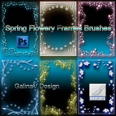 6 Spring Flowery Frames Brushes for Photoshop
