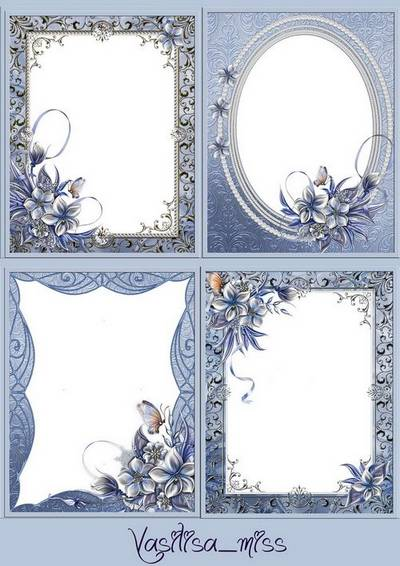 Winter frame with winter colors - Frosty patterns